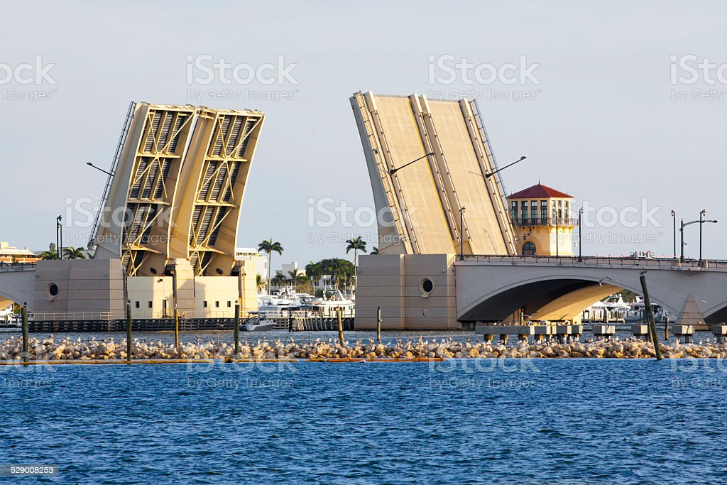 Love Local: Drawbridge opens for boats in West Palm Beach stock photo