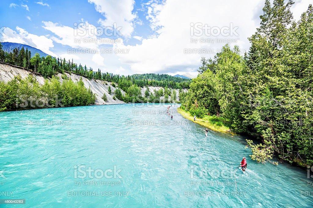 Love Local:  Fishing for salmon in Ketchikan Creek, Alaska  RM stock photo