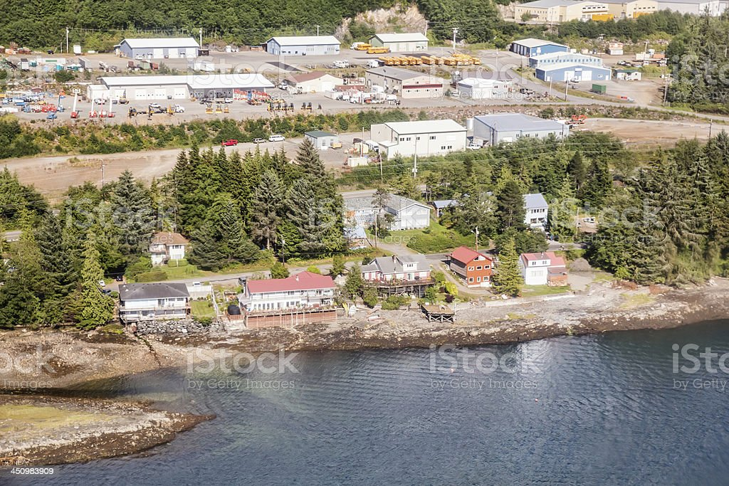 Love local:  Homes along the shore in Ketchikan, Alaska, royalty-free stock photo