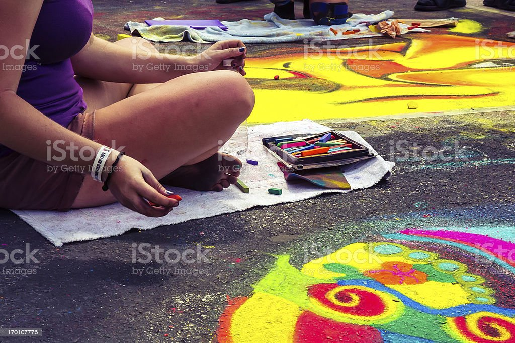 Love Local : Lake Worth Florida Street painting festival stock photo