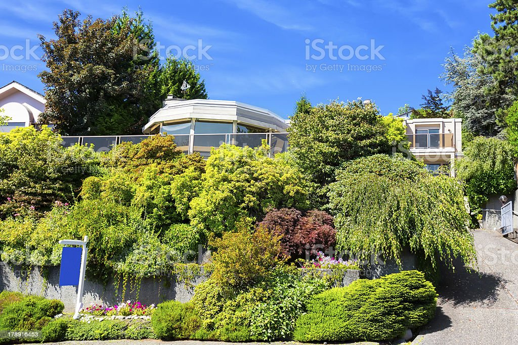 Love Local: Modern estate home exterior West Vancouver for sale royalty-free stock photo