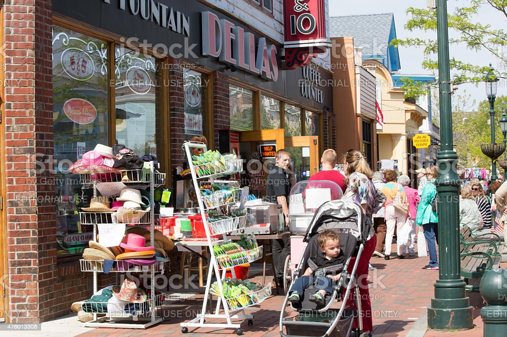 Love local: Sidewalk sale in Cape May, New Jersey stock photo