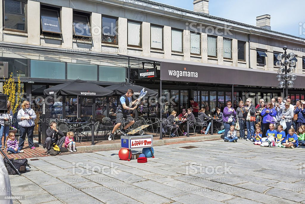 Love Local: Street Performer at Faneuil Hall Marketplace stock photo