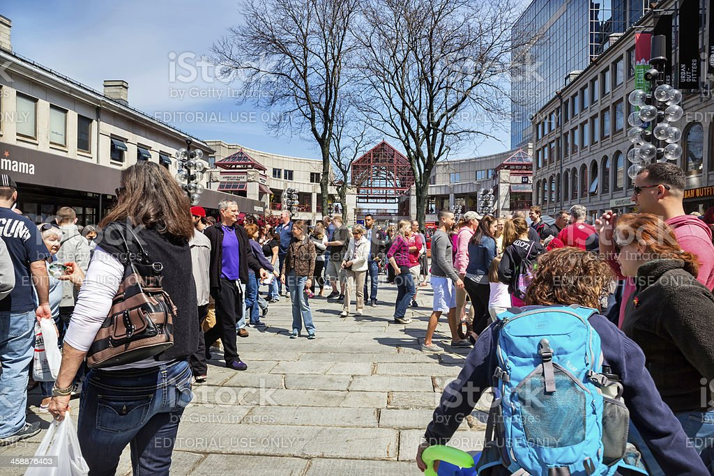 Love local:Tourists and shoppers at Quincy Market in Boston royalty-free stock photo