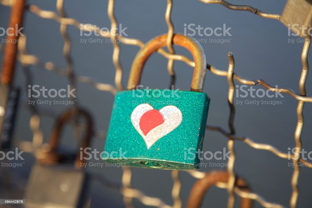 Love lock heart shape valentines romance eternal loyalty together symbol stock photo