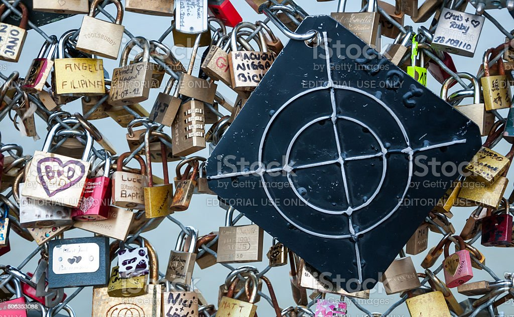 Love lock in shape of shooting target. stock photo