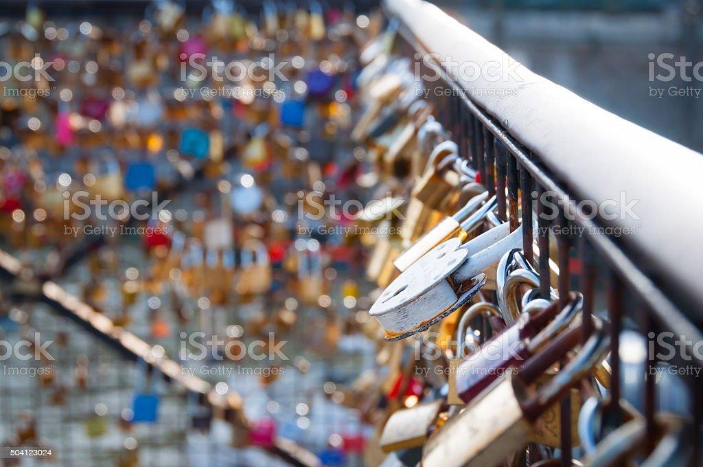 Love lock on a bridge in Paris stock photo