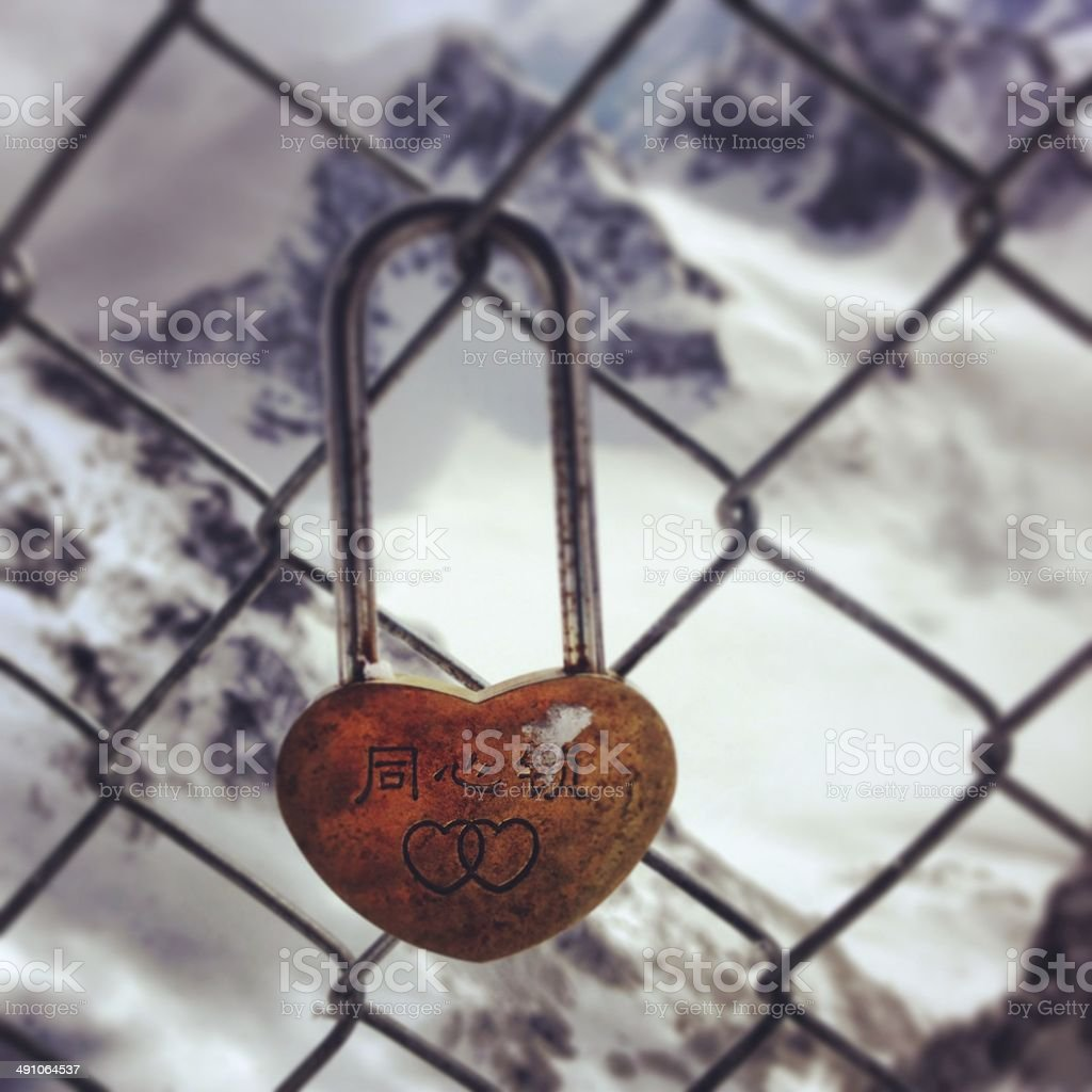 Love lock on chain link fence stock photo