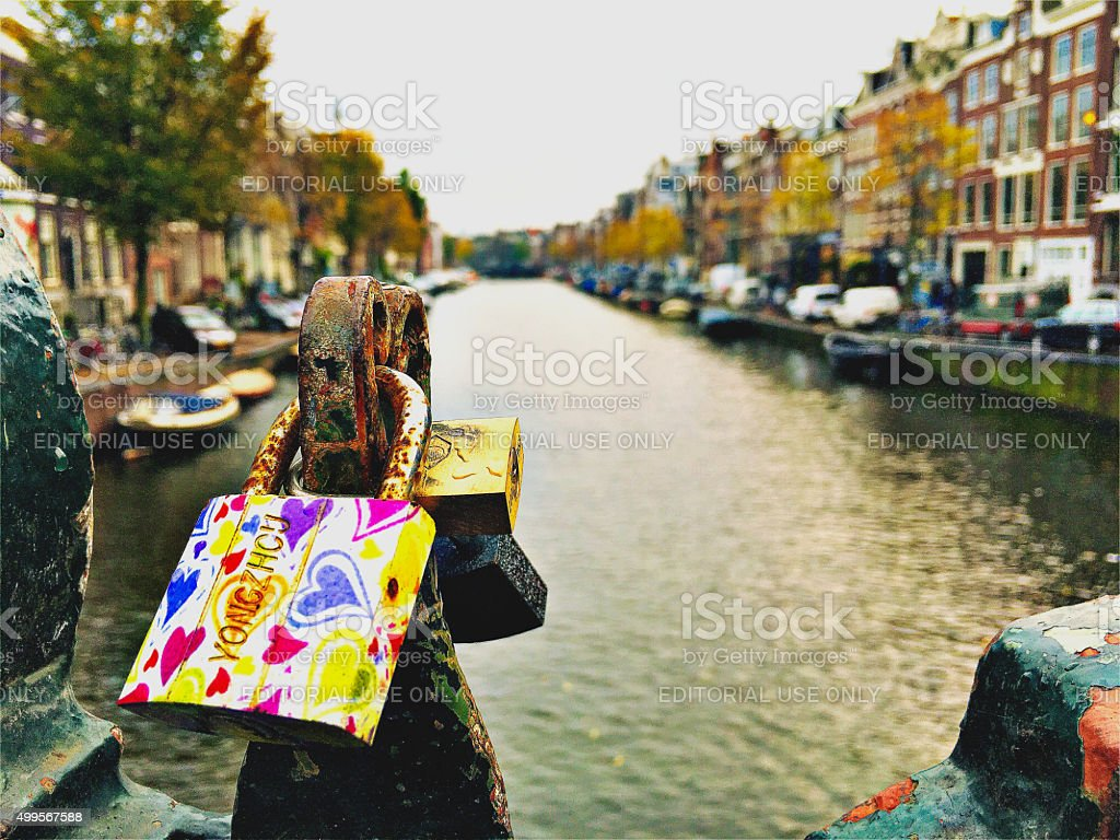 Love Lock or Padlocks from Canal Bridges of Amsterdam stock photo