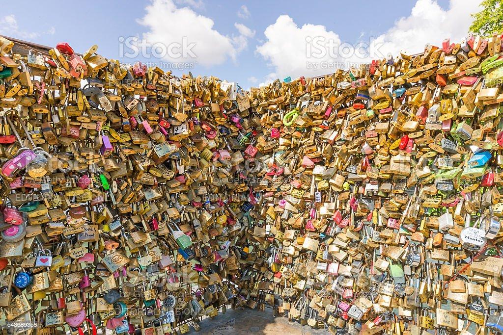 Love Lock Wall Near Place du Pont Neuf stock photo
