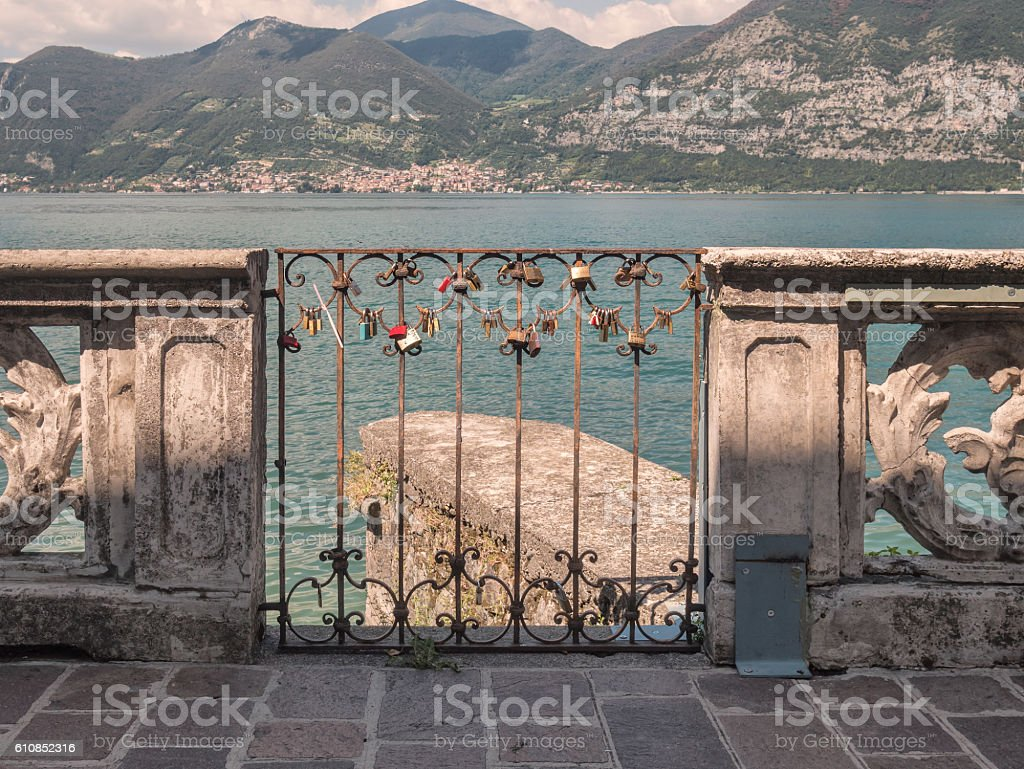 Love lockers in Iseo Village at lake Iseo, Italy stock photo