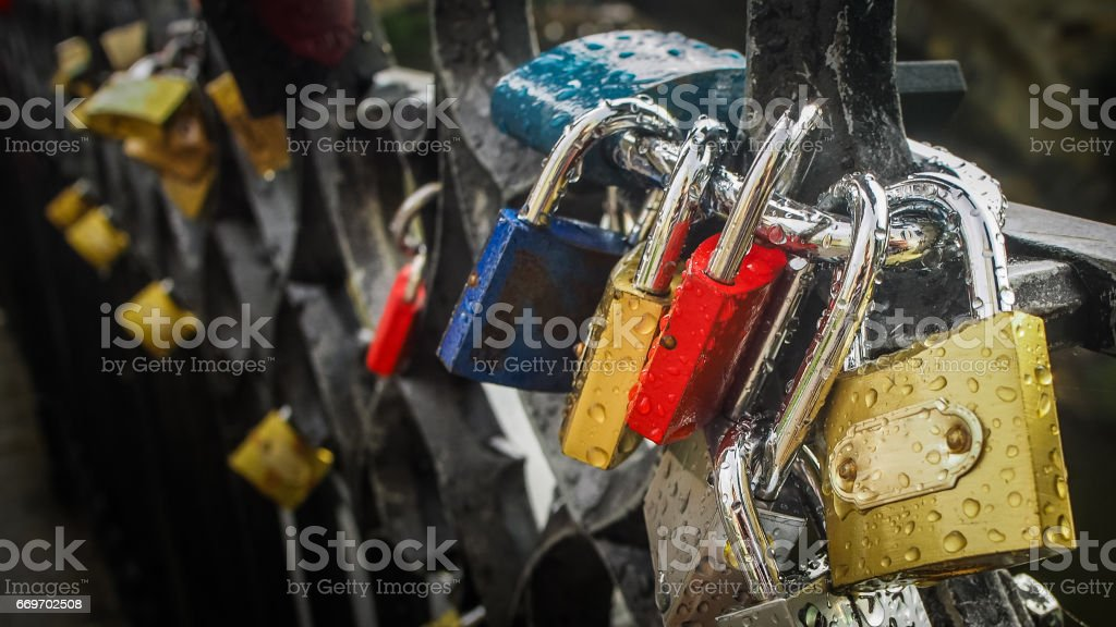 Love lockers on the bridge in Prague stock photo
