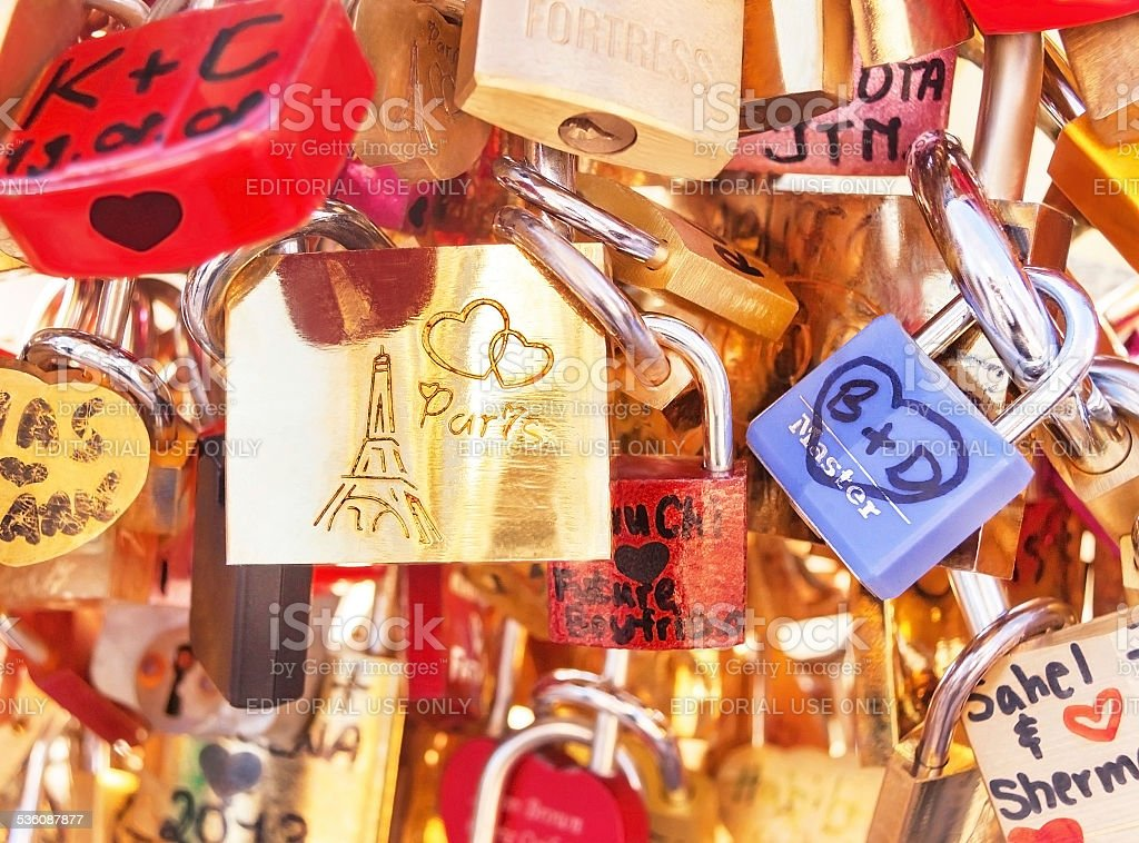 Love locks (padlocks) attached to the bridge in Paris. France. stock photo