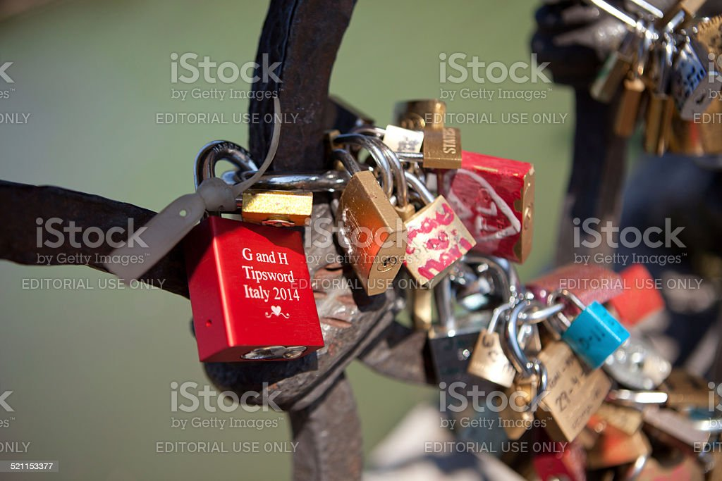 Love Locks in a bridge in Rome stock photo