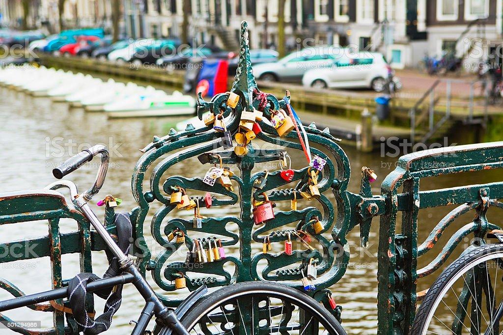 love locks in Amsterdam royalty-free stock photo