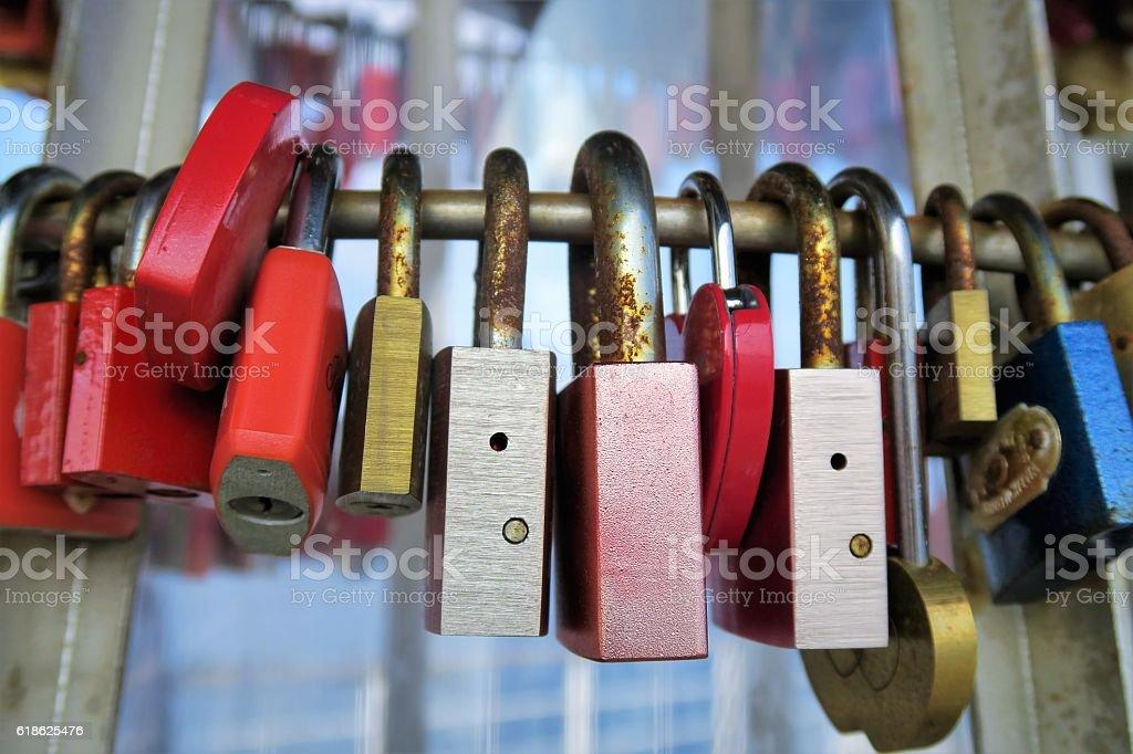 Love Locks - Love Padlocks on a bridge stock photo