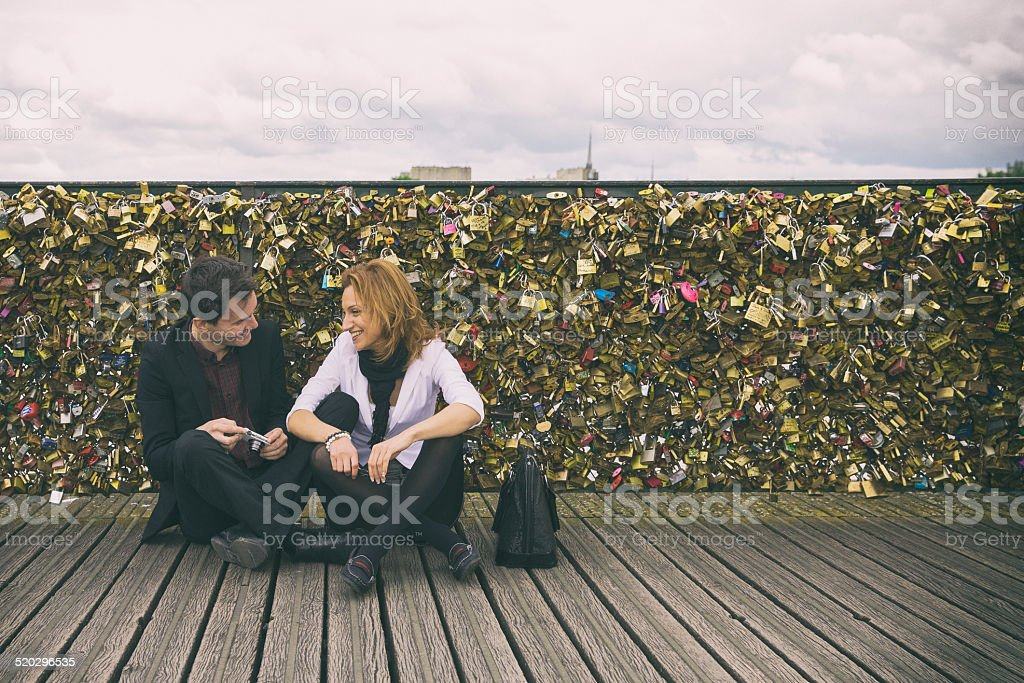 Love locks on a bridge in Paris stock photo