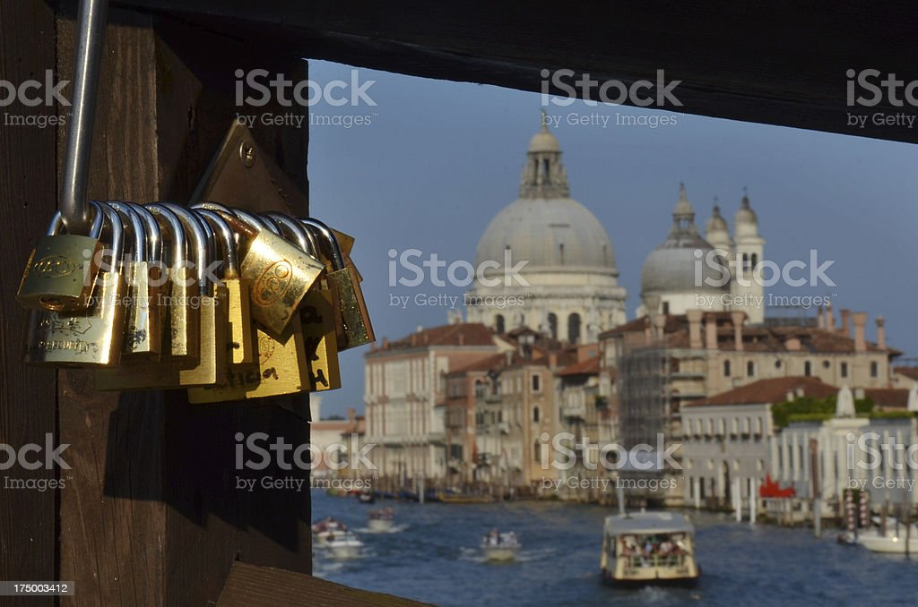 Love locks on a bridge stock photo