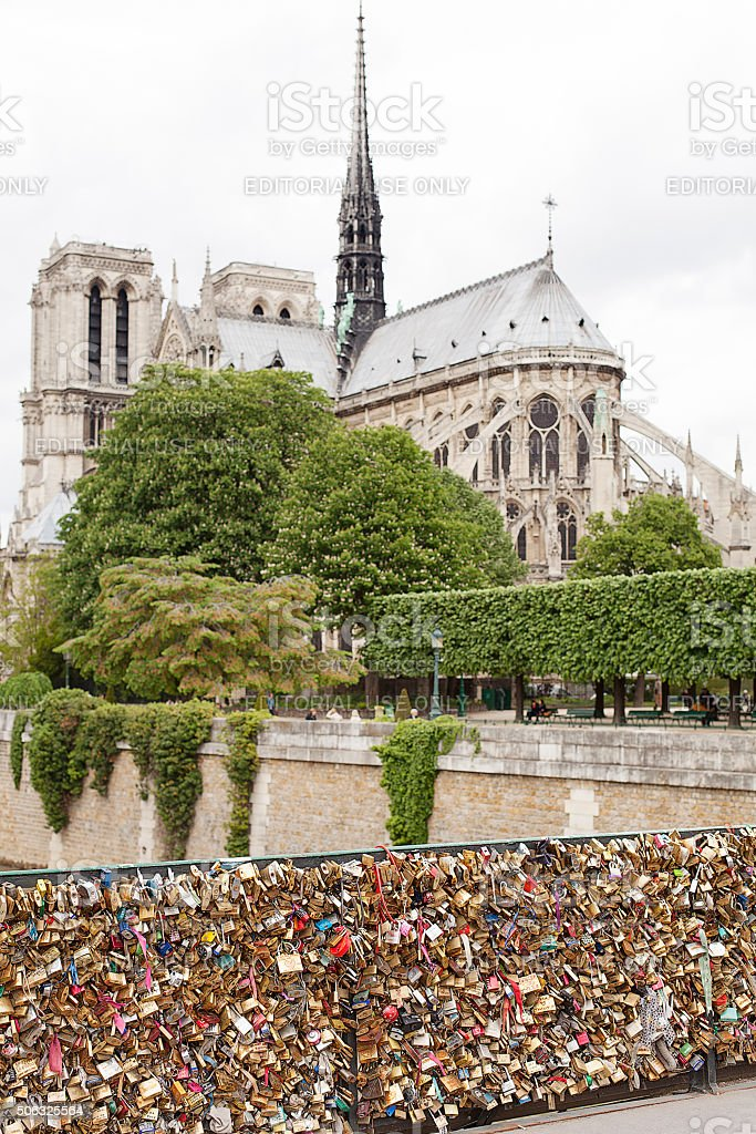 Love locks on Paris Bridge stock photo
