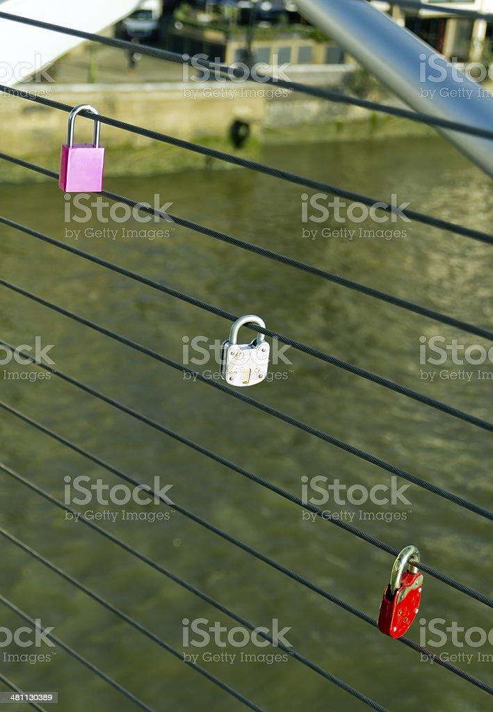Love locks on the Millennium Bridge royalty-free stock photo