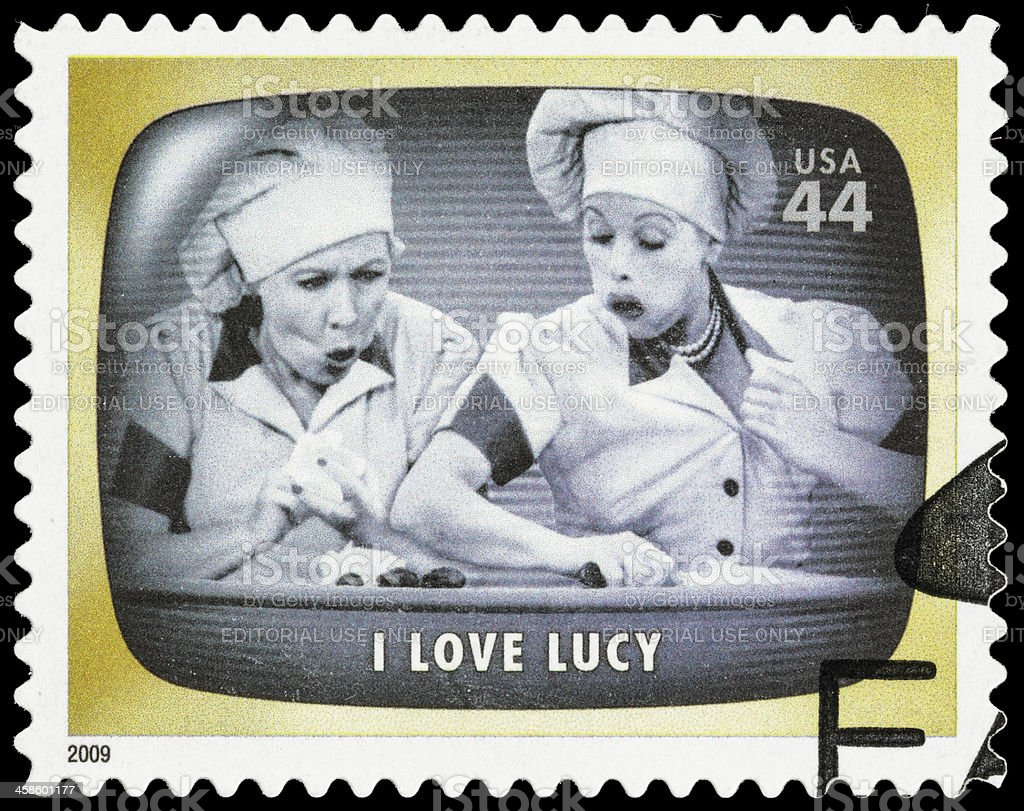 USA I Love Lucy chocolate factory episode postage stamp stock photo