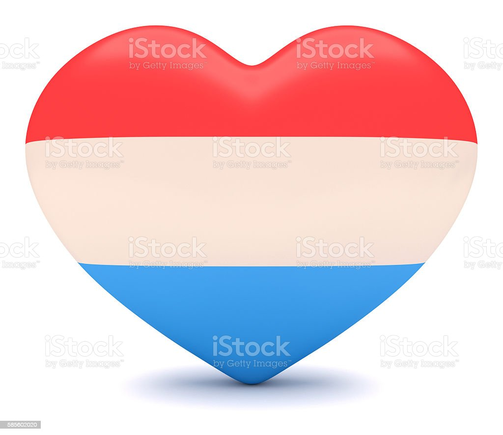 Love Luxembourg: Luxembourgian Flag Heart, 3d illustration stock photo