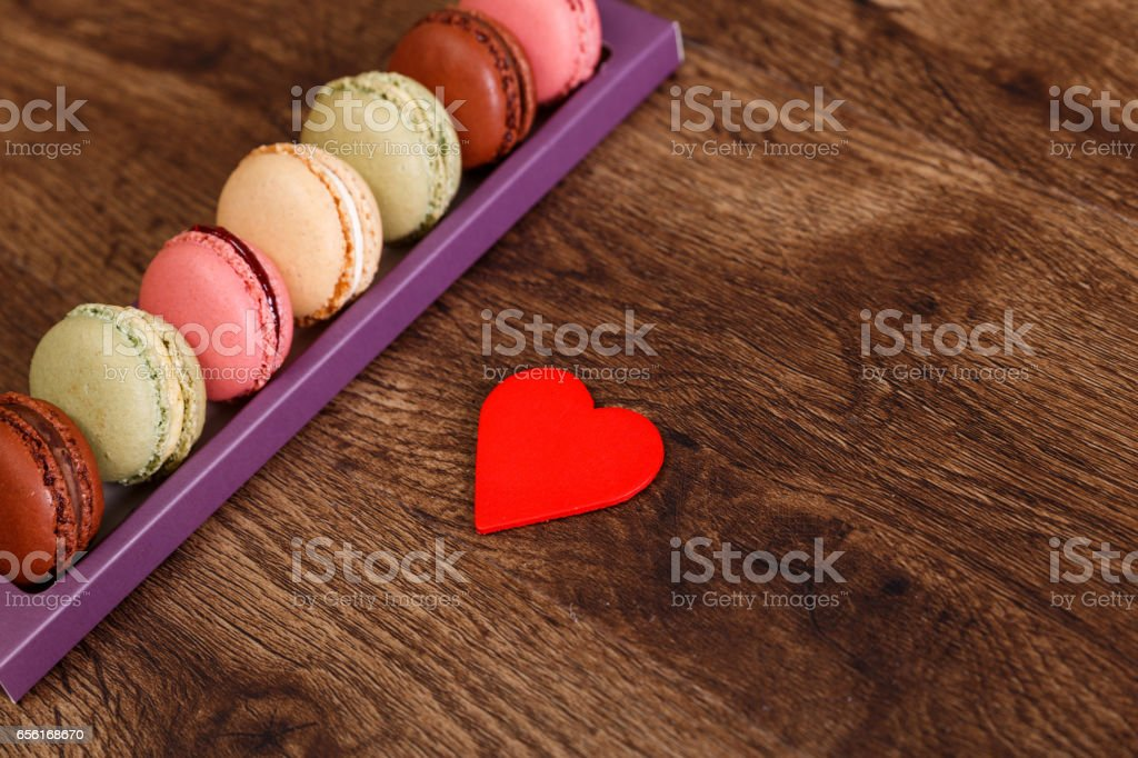 I love Macaroon cakes. Almond sweet cookies. stock photo