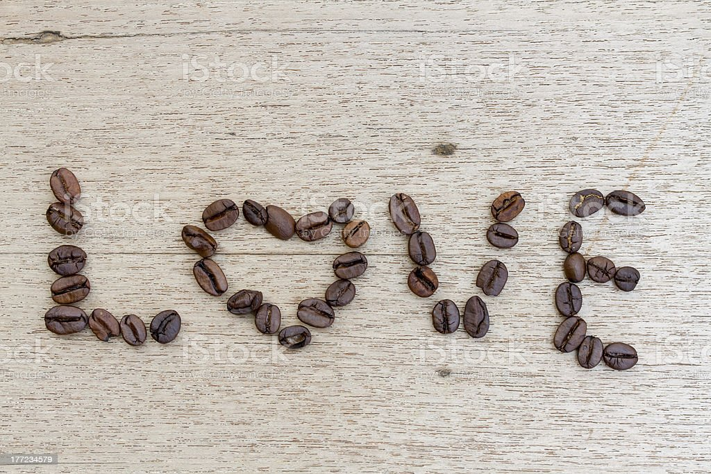 Love made by Coffee Beans royalty-free stock photo