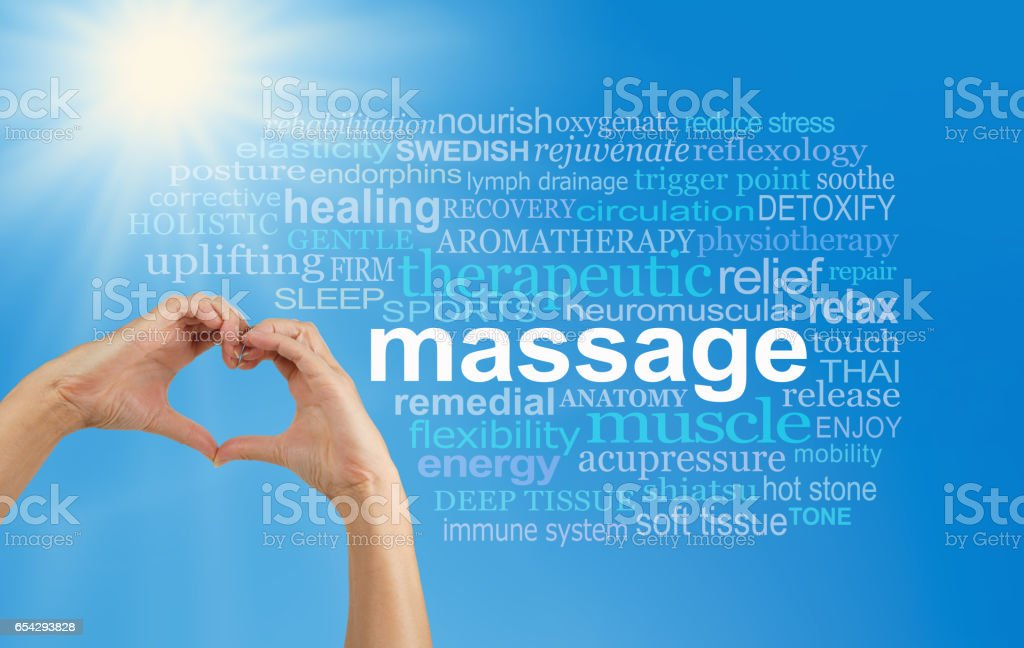 Love Massage word cloud stock photo