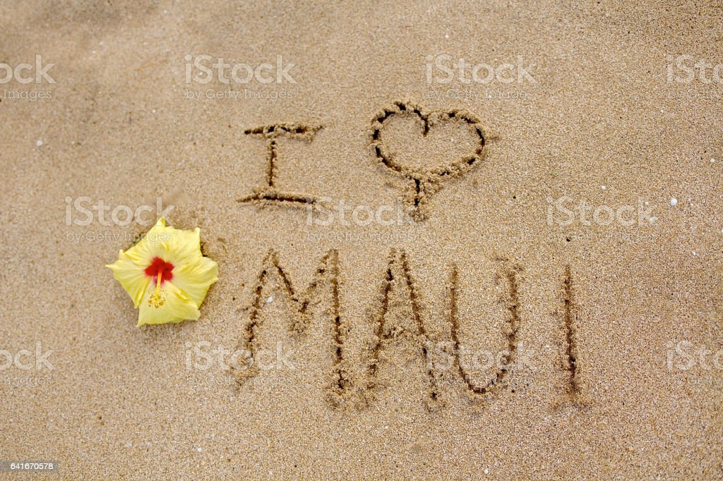 I Love Maui stock photo