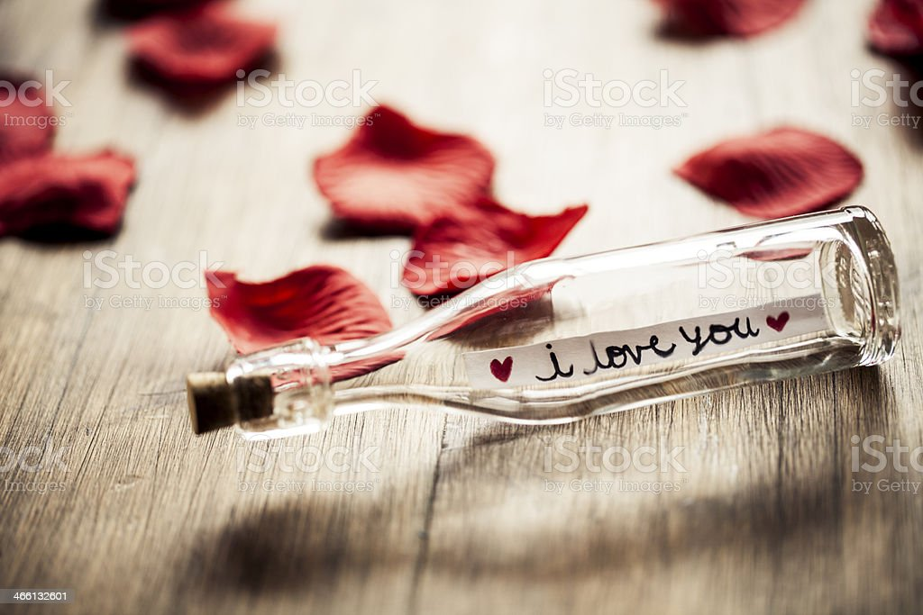 Love Message In A Bottle stock photo