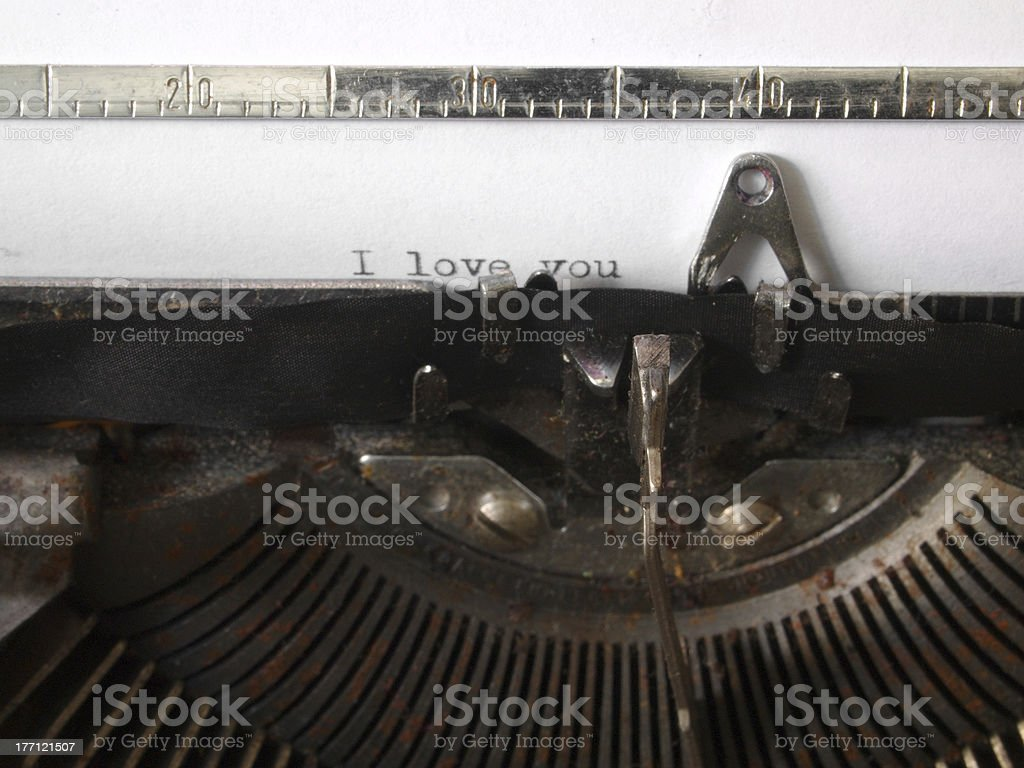 Love message in old, rusty machine royalty-free stock photo
