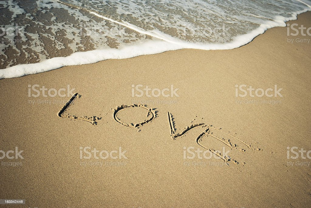 Love message in the sand for St.Valentine royalty-free stock photo