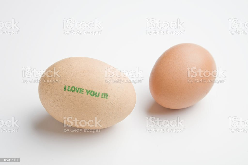 Love message on a double yolked egg stock photo