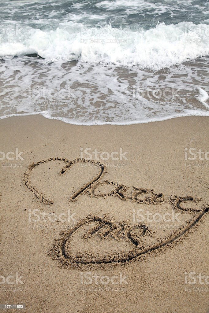 Love message on beach royalty-free stock photo