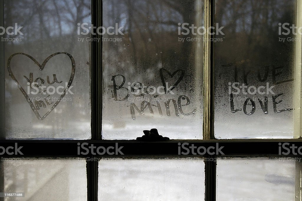 Love Messages In a Window royalty-free stock photo