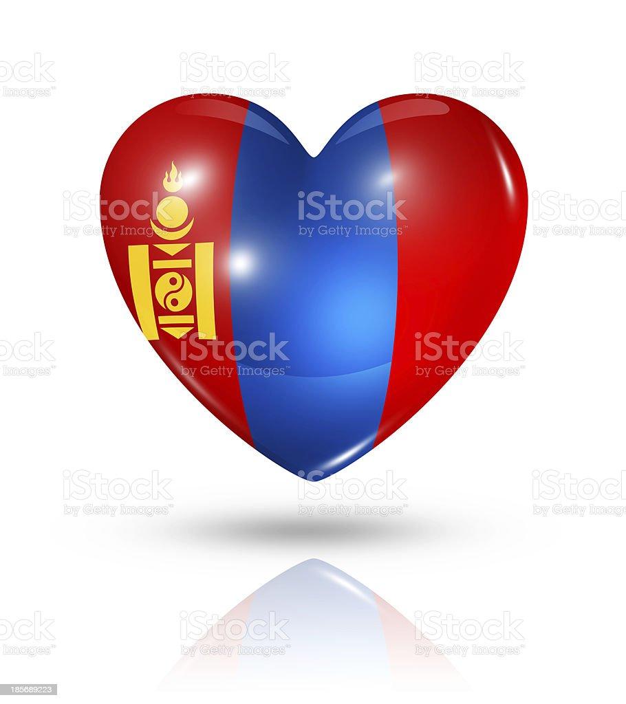 Love Mongolia, heart flag icon royalty-free stock photo