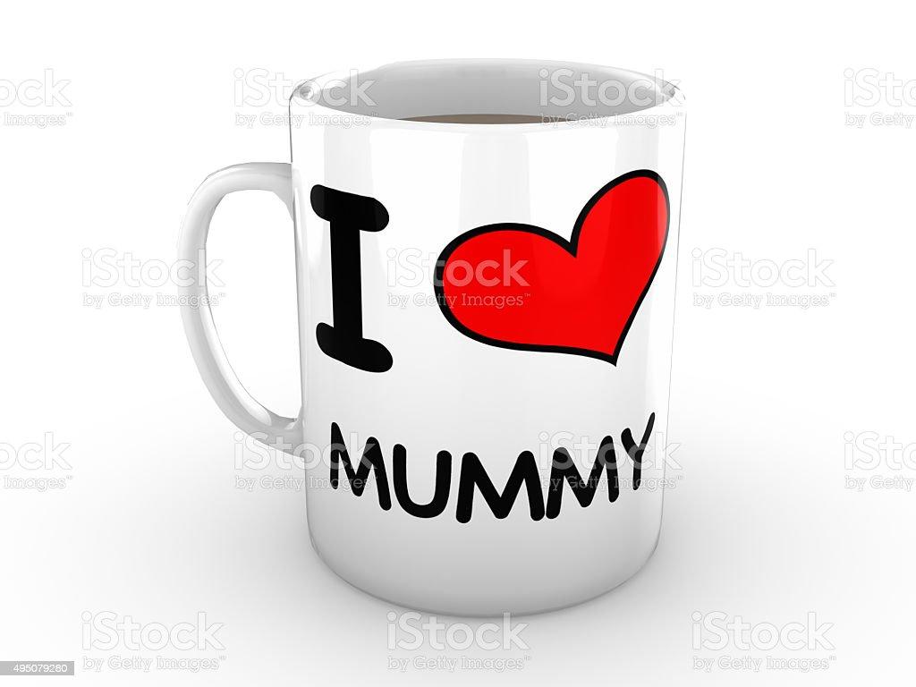 I love Mummy - Red Heart on White Mug stock photo