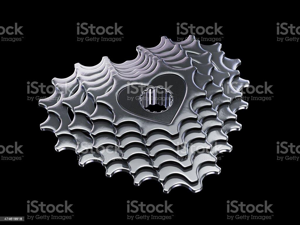 love my bike cassette in heart shape stock photo
