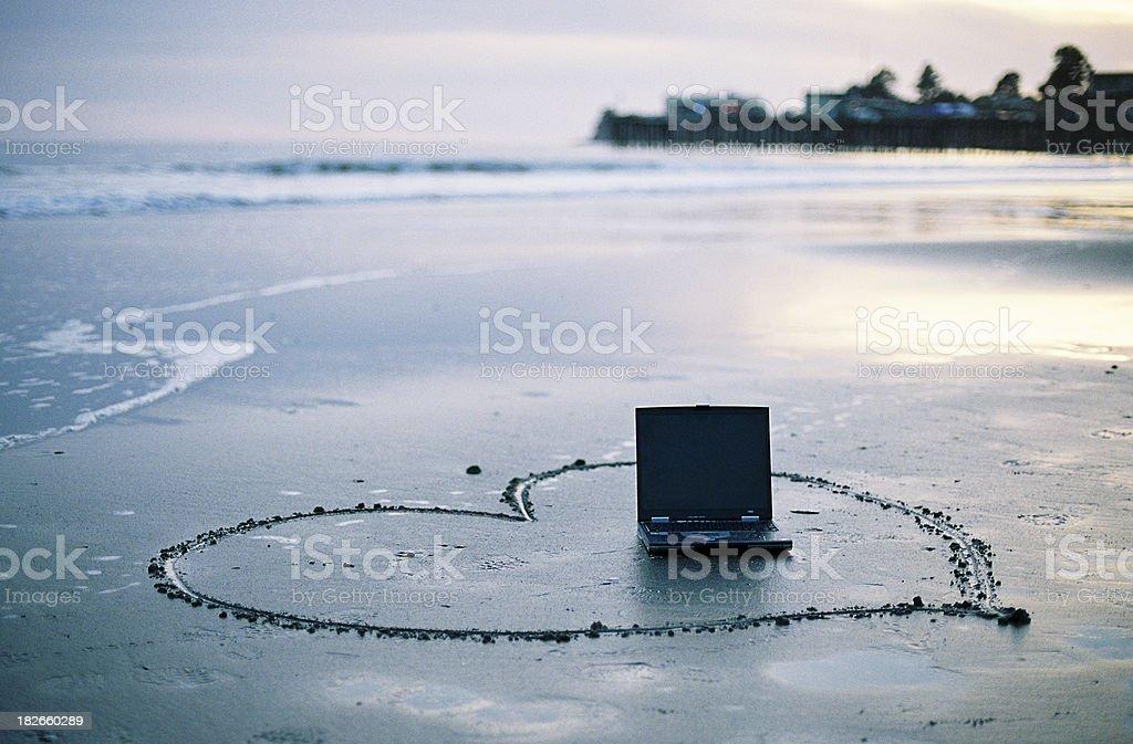 Love my laptop on California beach royalty-free stock photo
