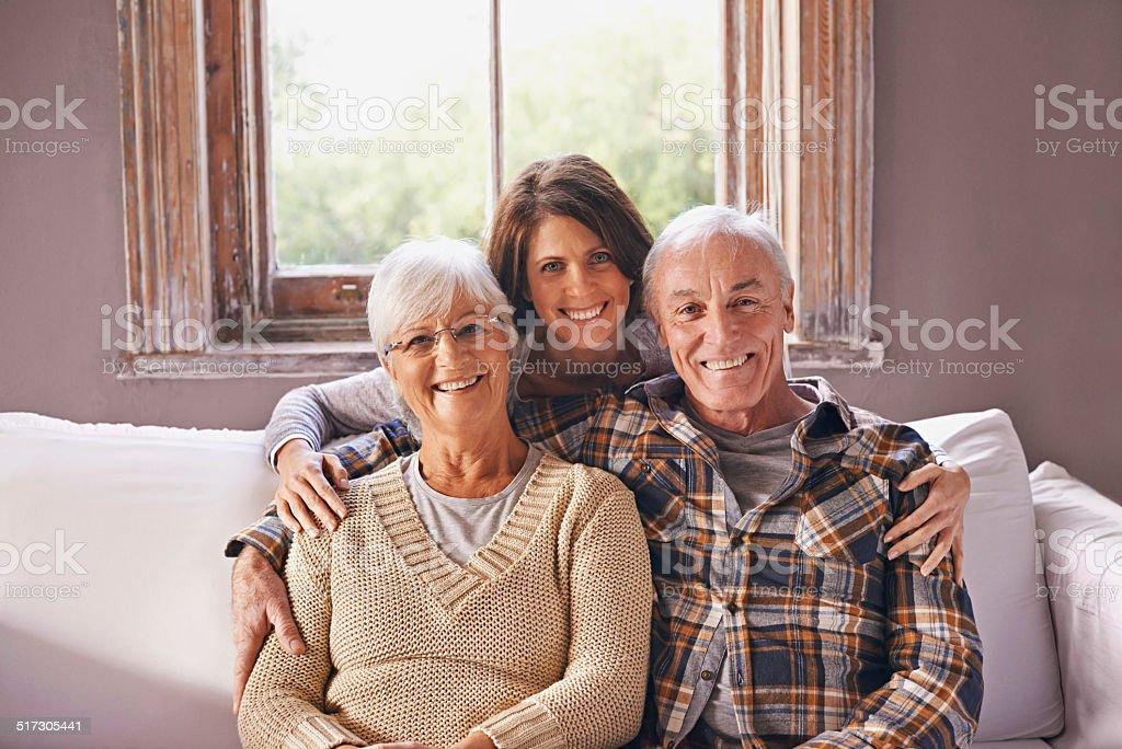 I love my parents! stock photo