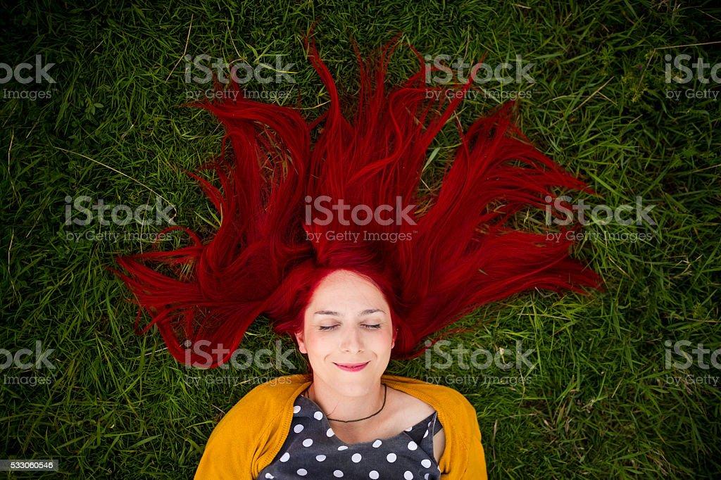 Love my red hair stock photo