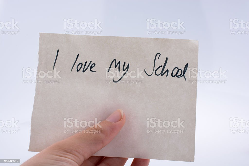 I love my school title in hand stock photo