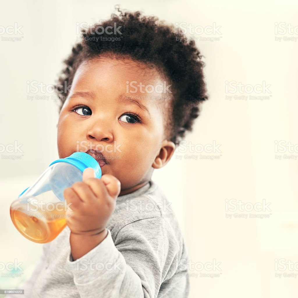 I love my sippy cup! stock photo