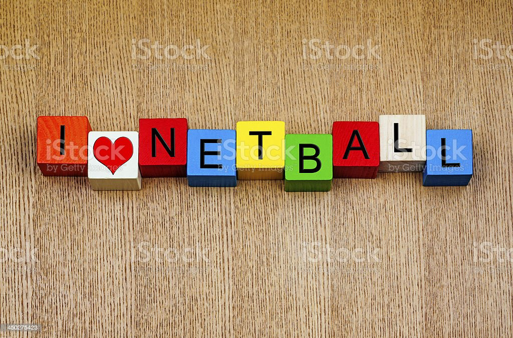 I love netball - sign for sports stock photo