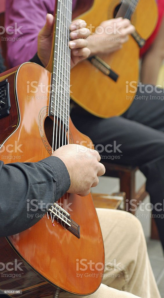 Love of music playing guitar stock photo