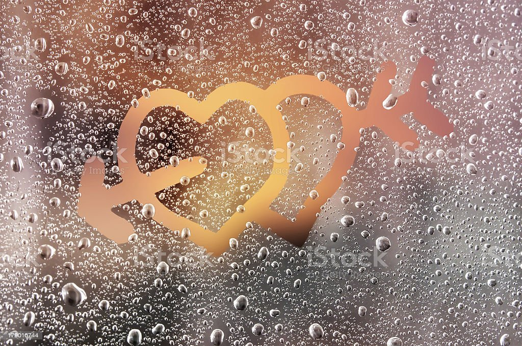 Love on a Frosty Window royalty-free stock photo