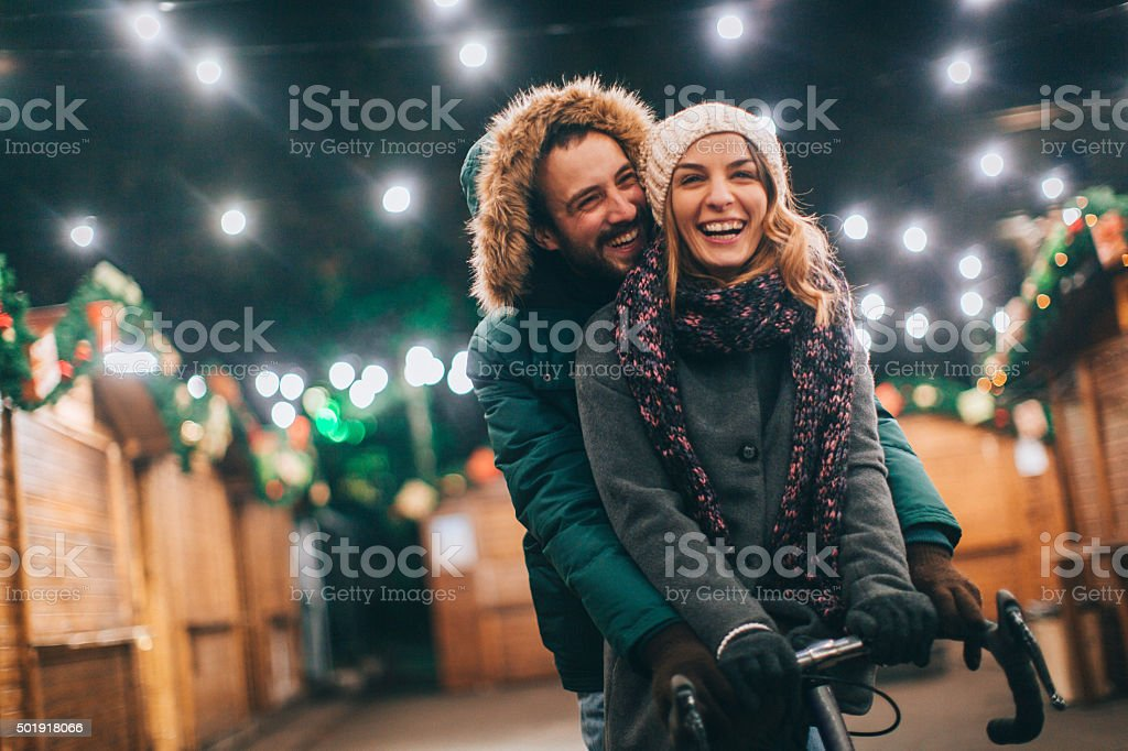 Love on Christmas market stock photo