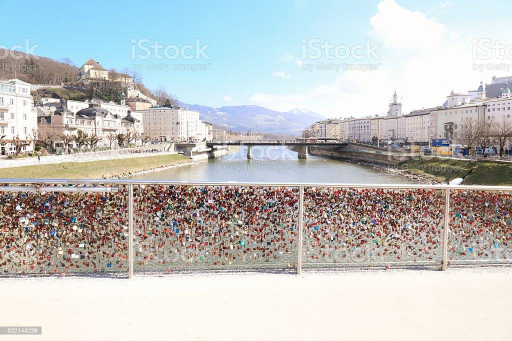 Love on the bridge stock photo