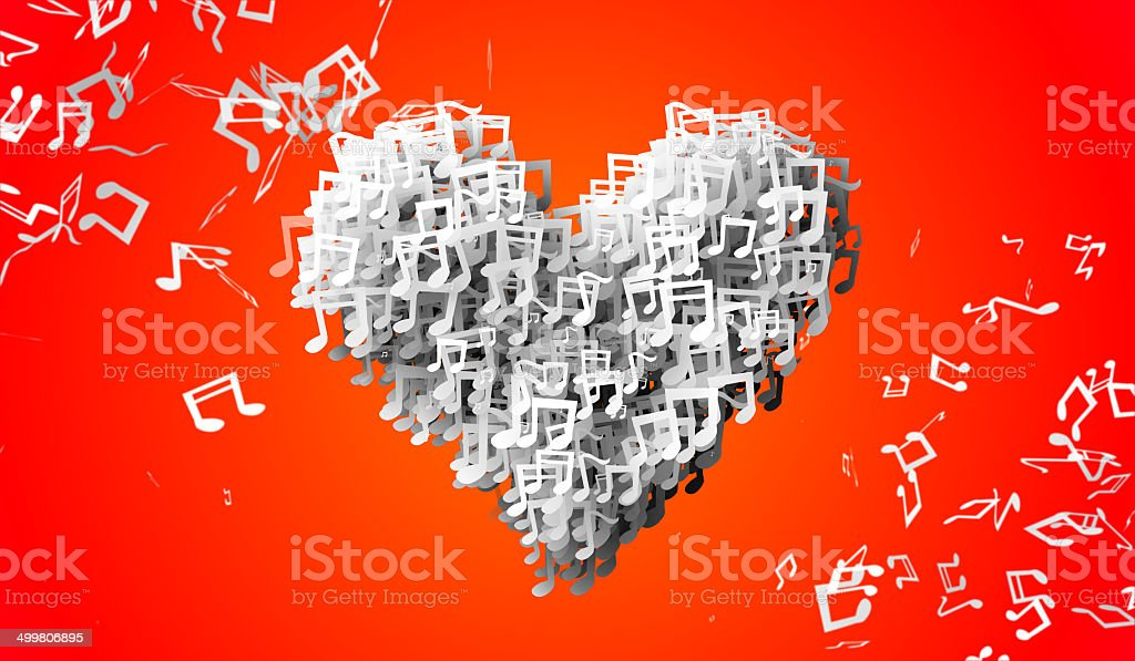 Love orange Musical Note Particles 3D royalty-free stock photo